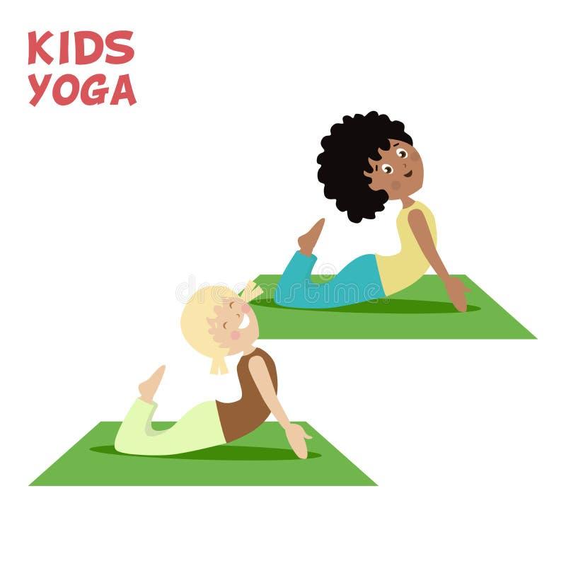 Το κορίτσι και το αγόρι συμμετέχουν σε μια γιόγκα παιδιών Αθλητισμός ή άσκηση Επίπεδος χαρακτήρας κινούμενων σχεδίων διανυσματική απεικόνιση