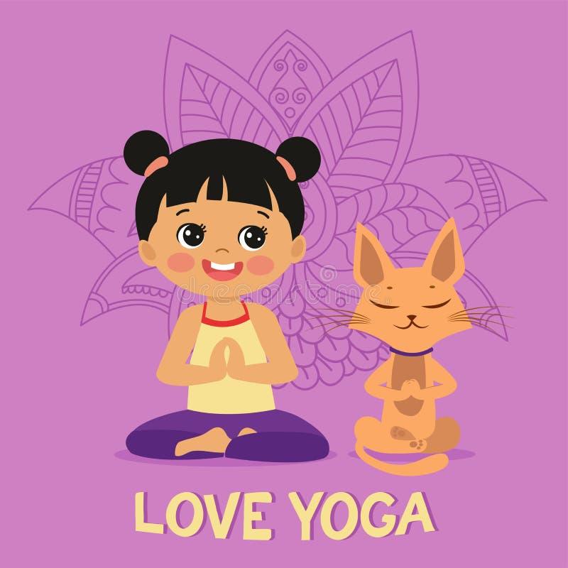 Το κορίτσι κινούμενων σχεδίων στο Lotus γιόγκας θέτει με τη χαριτωμένη γάτα Εικονίδιο γιόγκας άσκησης r απεικόνιση αποθεμάτων
