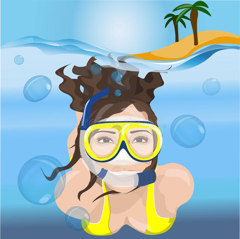 Το κορίτσι κολυμπά σε μια μάσκα στο μπλε νερό απεικόνιση αποθεμάτων