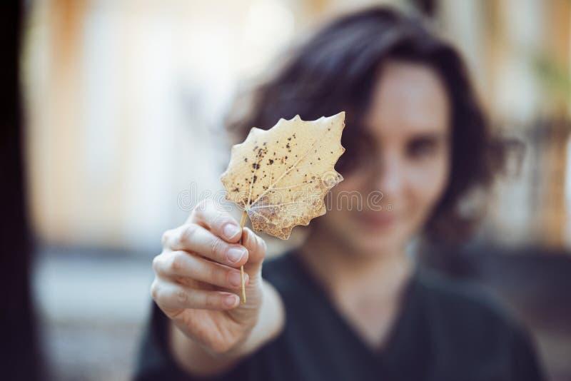 Το κορίτσι κρατά ένα κίτρινο φύλλο στοκ εικόνα