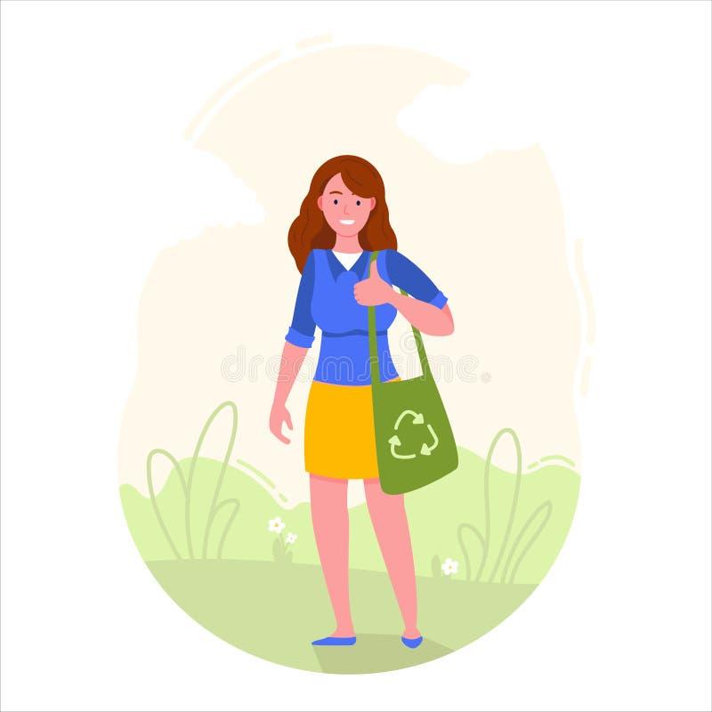 Το κορίτσι κρατά την τσάντα eco με την ανακύκλωση του συμβόλου απεικόνιση αποθεμάτων