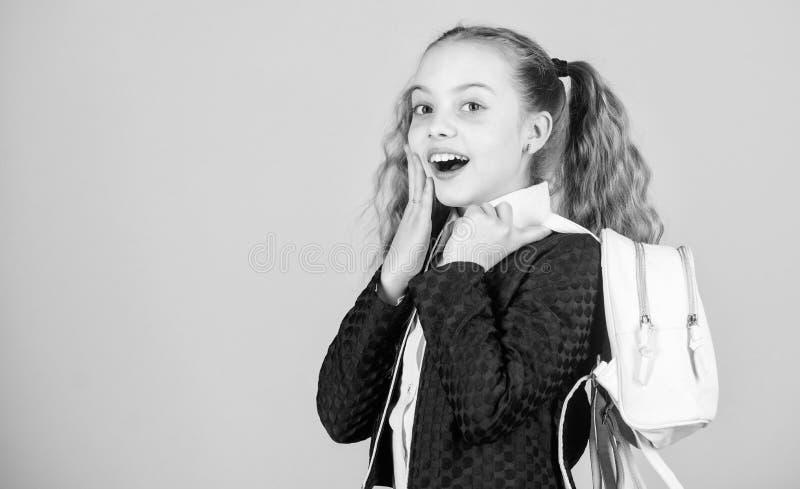 Το κορίτσι λίγο μοντέρνο cutie φέρνει το σακίδιο πλάτης Δημοφιλές χρήσιμο εξάρτημα μόδας Μαθήτρια ponytails hairstyle με στοκ φωτογραφία με δικαίωμα ελεύθερης χρήσης