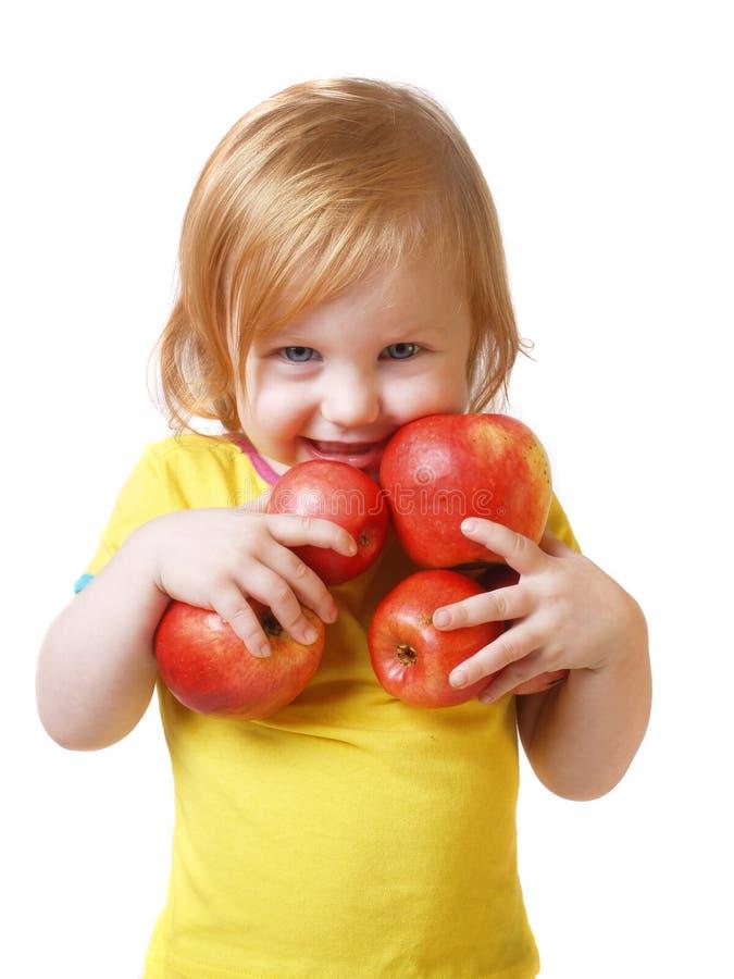 το κορίτσι μήλων απομόνωσε το λευκό στοκ φωτογραφίες με δικαίωμα ελεύθερης χρήσης