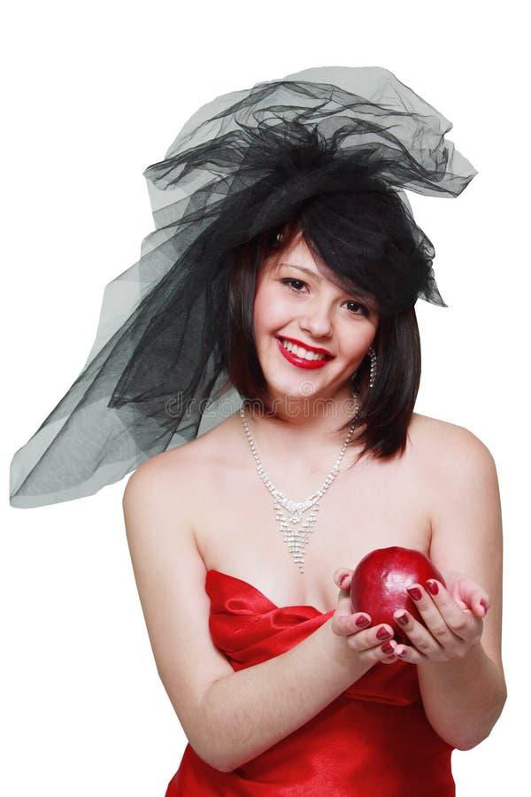 το κορίτσι μήλων δίνει δικώ στοκ εικόνες