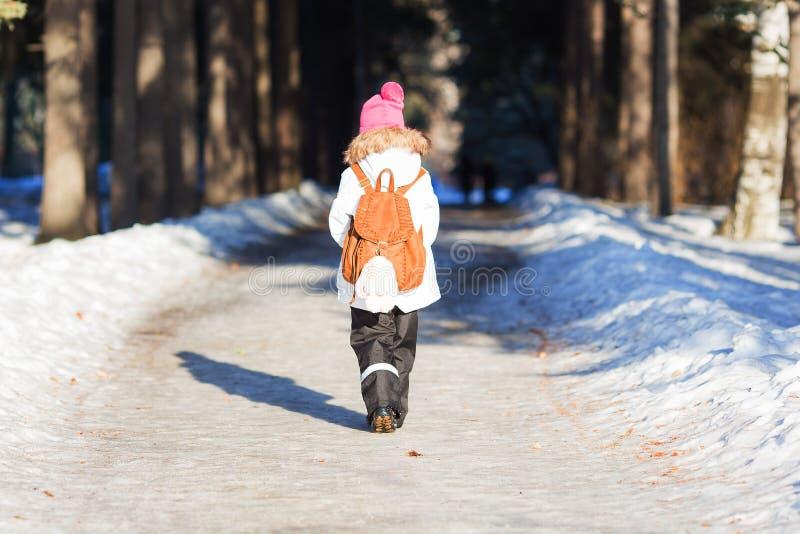 Το κορίτσι με ένα σακίδιο πλάτης περπατά κατά μήκος της αλέας στο πάρκο μια ηλιόλουστη χειμερινή ημέρα στοκ φωτογραφίες με δικαίωμα ελεύθερης χρήσης