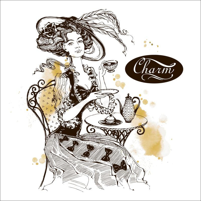 Το κορίτσι με το καπέλο και ο τρύγος ντύνουν Η κυρία πίνει το τσάι όμορφη γυναίκα γοητεία επιγραφή graphics watercolor διανυσματική απεικόνιση