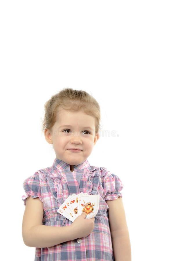 Το κορίτσι με τις κάρτες στοκ εικόνες με δικαίωμα ελεύθερης χρήσης