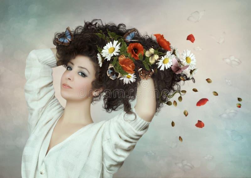 Το κορίτσι με τις πεταλούδες και τα λουλούδια στοκ εικόνα με δικαίωμα ελεύθερης χρήσης