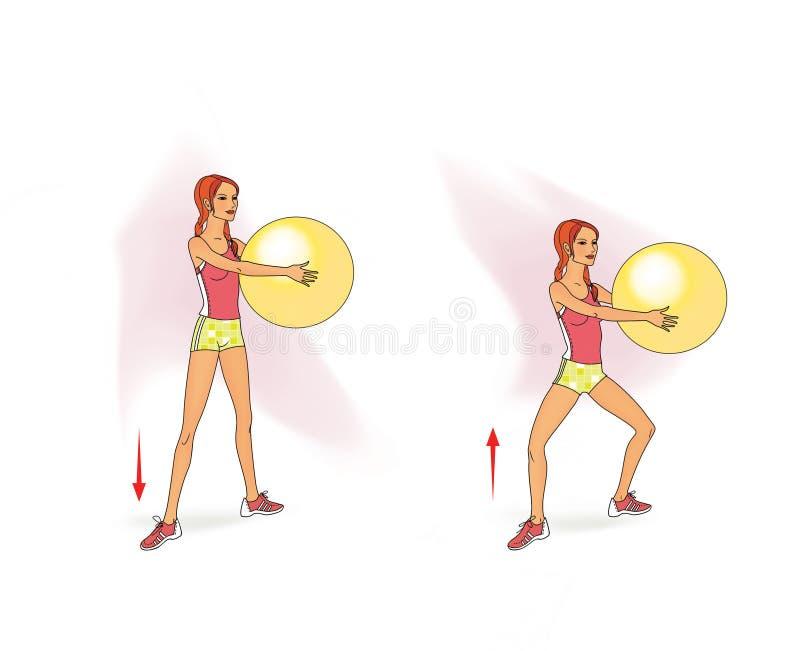 Το κορίτσι με τις πλεξίδες sportswear εκτελεί τις ασκήσεις με ένα fitball μέσα τα όπλα Lunges προς τα εμπρός, στάσεις οκλαδόν, αν απεικόνιση αποθεμάτων