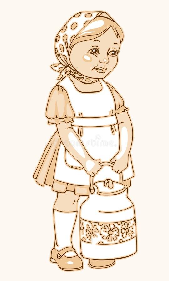 Το κορίτσι με το α μπορεί του γάλακτος διανυσματική απεικόνιση