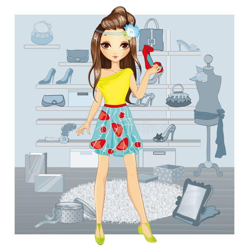 Το κορίτσι μόδας επιλέγει τα παπούτσια διανυσματική απεικόνιση