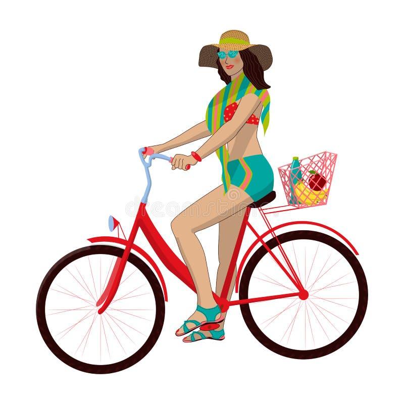 Το κορίτσι οδηγά ένα ποδήλατο Το καλοκαίρι, παραλία, θάλασσα, στηρίζεται τον υγιή τρόπο ζωής o Απομονωμένη εικόνα στο άσπρο υπόβα διανυσματική απεικόνιση