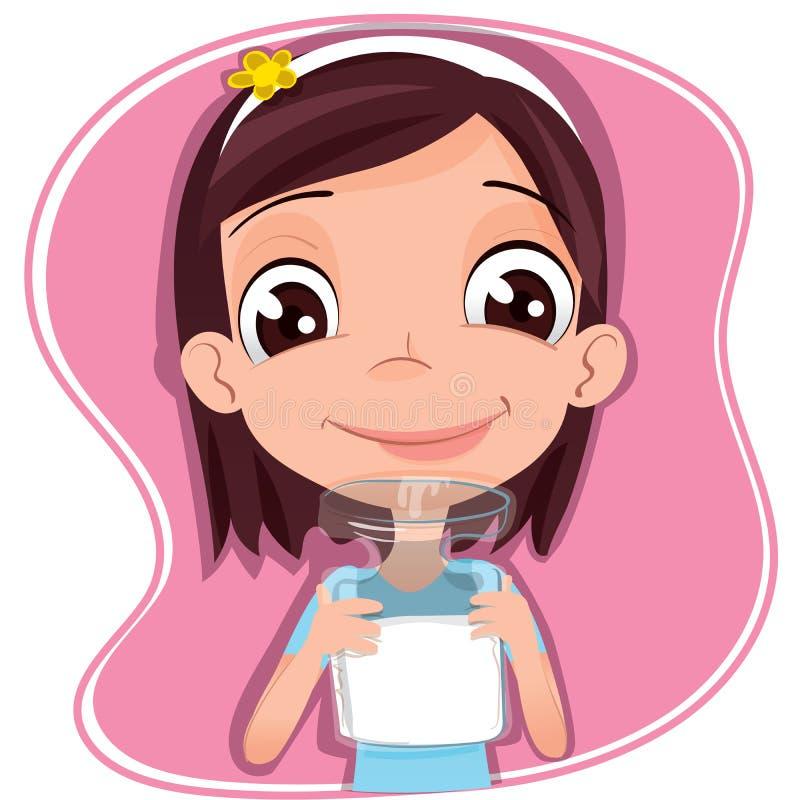 το κορίτσι πίνει το γάλα διανυσματική απεικόνιση