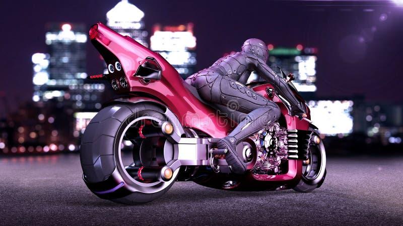 Το κορίτσι ποδηλατών με το κράνος που οδηγά ένα sci-Fi ποδήλατο, γυναίκα στην κόκκινη φουτουριστική μοτοσικλέτα στην οδό πόλεων ν διανυσματική απεικόνιση