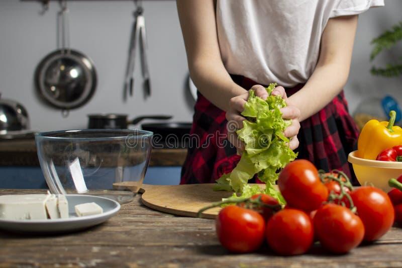 Το κορίτσι προετοιμάζει μια χορτοφάγο σαλάτα, προσθέτει τα τεμαχισμένα πράσινα σε ένα κενό πιάτο, μαγειρεύοντας υγιή τρόφιμα, κιν στοκ φωτογραφία με δικαίωμα ελεύθερης χρήσης