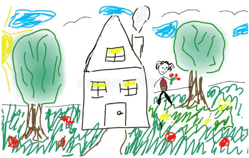 Το κορίτσι σε ένα ξέφωτο κοντά στο σπίτι στοκ εικόνες