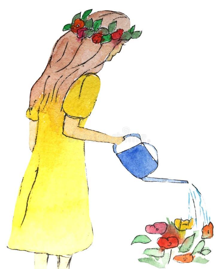 Το κορίτσι σε ένα φόρεμα πότισε τα λουλούδια από το πότισμα μπορεί απεικόνιση σκίτσων watercolor διανυσματική απεικόνιση