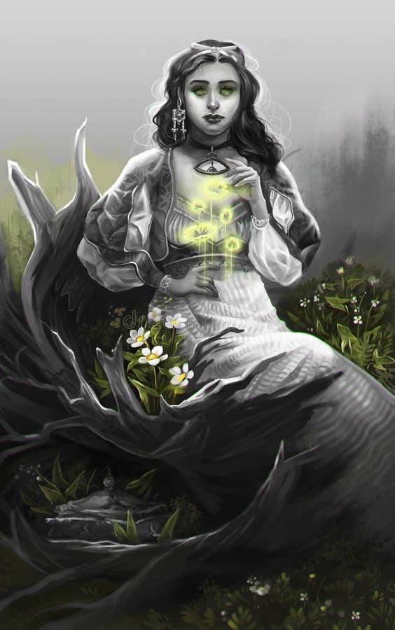 Το κορίτσι σε γκρίζο κάθεται στο κολόβωμα ελεύθερη απεικόνιση δικαιώματος