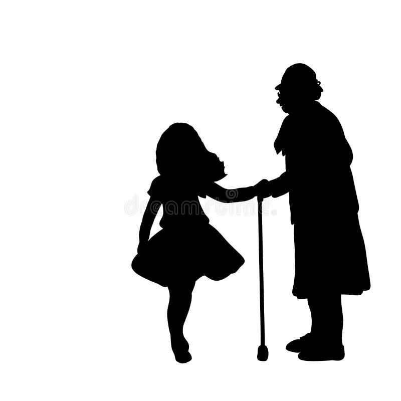 Το κορίτσι σκιαγραφιών φροντίζει γιαγιά βοηθειών ελεύθερη απεικόνιση δικαιώματος