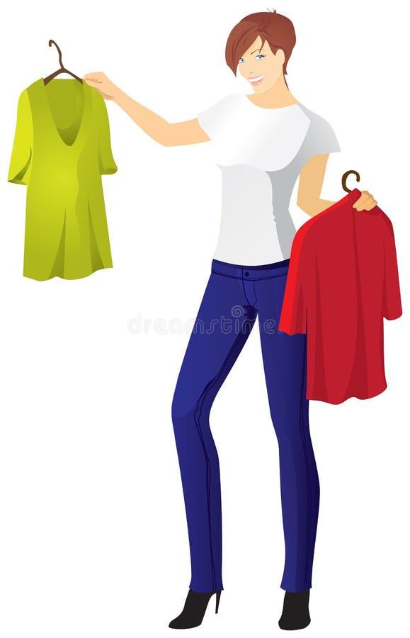 Το κορίτσι στα τζιν επιλέγει την μπλούζα διανυσματική απεικόνιση