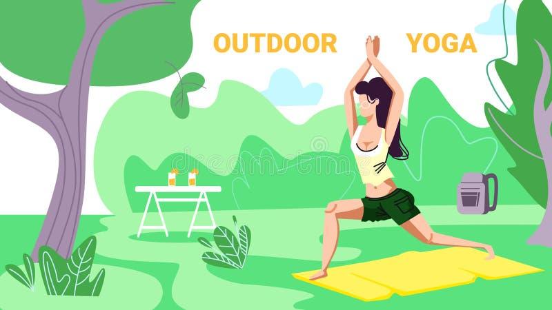 Το κορίτσι στην αθλητική ένδυση δεσμεύει την ικανότητα ή τη γιόγκα, δάσος διανυσματική απεικόνιση