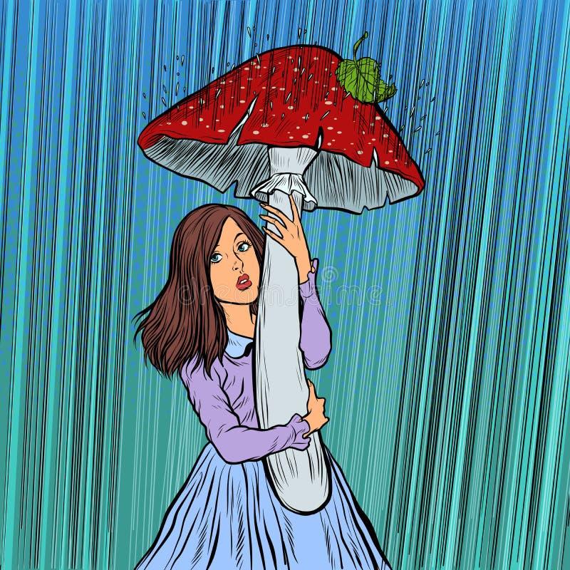 Το κορίτσι στη βροχή κρύφτηκε κάτω από ένα μανιτάρι απεικόνιση αποθεμάτων