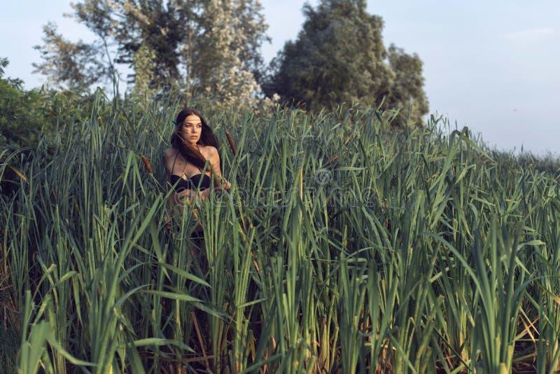 Το κορίτσι στο δάσος κοντά στον ποταμό στοκ φωτογραφία