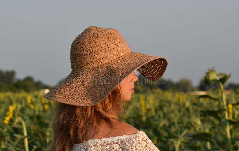 Το κορίτσι στο καπέλο αχύρου στο σχεδιάγραμμα στον τομέα με τους ηλίανθους στοκ εικόνες με δικαίωμα ελεύθερης χρήσης