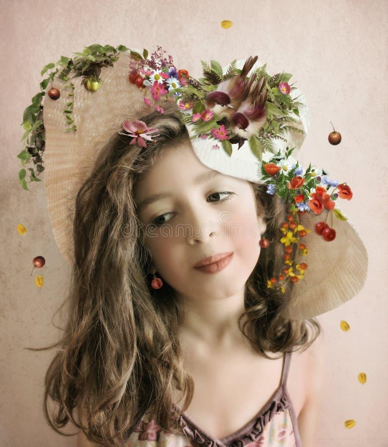 Το κορίτσι στο καπέλο ελεύθερη απεικόνιση δικαιώματος