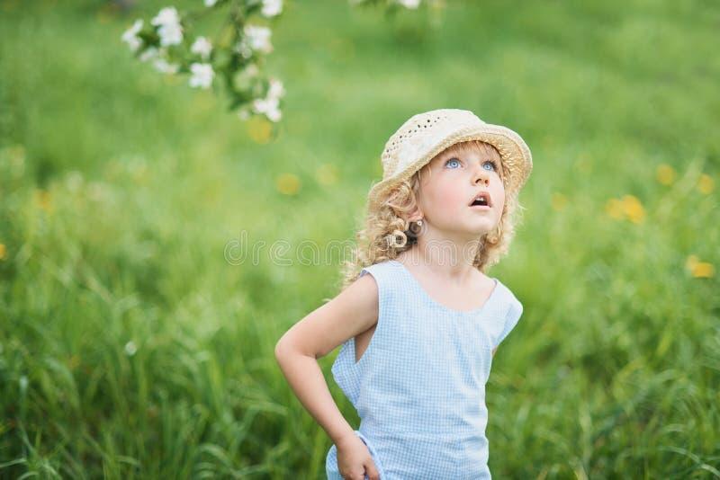 Το κορίτσι συλλέγει την ανθοδέσμη πικραλίδων για ένα στεφάνι στο λιβάδι του orhard στοκ φωτογραφίες με δικαίωμα ελεύθερης χρήσης