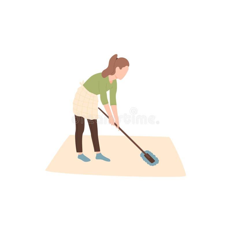 Το κορίτσι συμμετέχει στον καθαρισμό του σπιτιού ή του δωματίου διανυσματική απεικόνιση