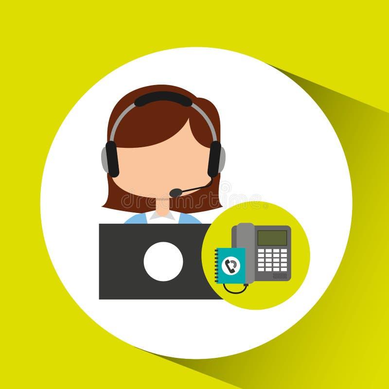 Το κορίτσι χειριστών τηλεφωνικών κέντρων έρχεται σε επαφή με τους πελάτες διανυσματική απεικόνιση