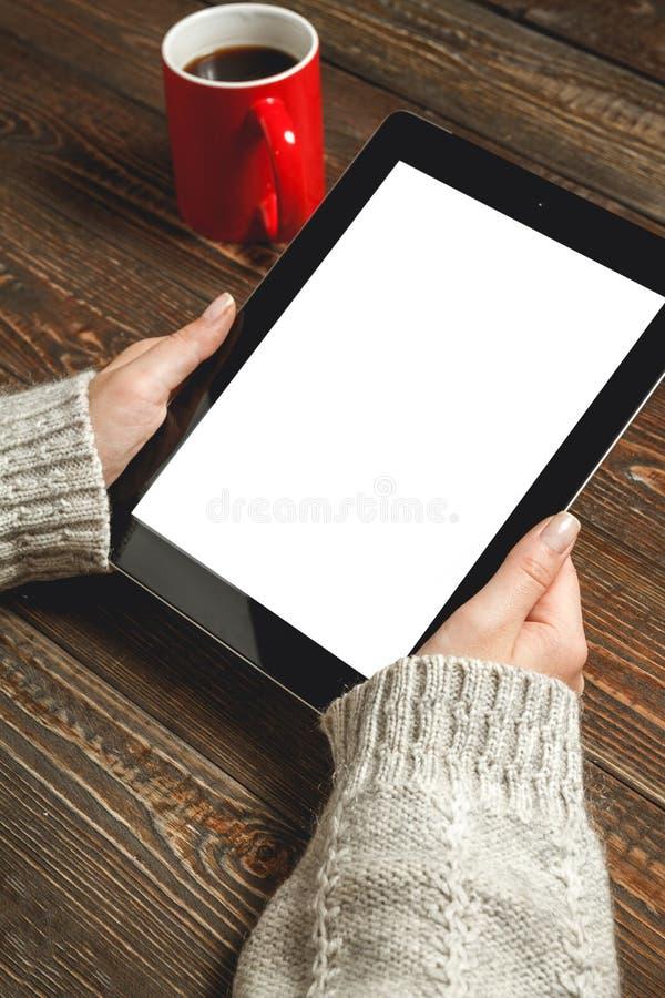 Το κορίτσι χρησιμοποιεί μια ταμπλέτα στοκ φωτογραφίες με δικαίωμα ελεύθερης χρήσης