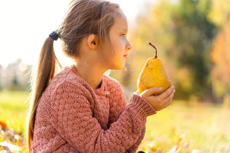 Το κορίτσι 4 χρονών περπατά στο πάρκο φθινοπώρου κρατώντας ένα αχλάδι στοκ εικόνα με δικαίωμα ελεύθερης χρήσης