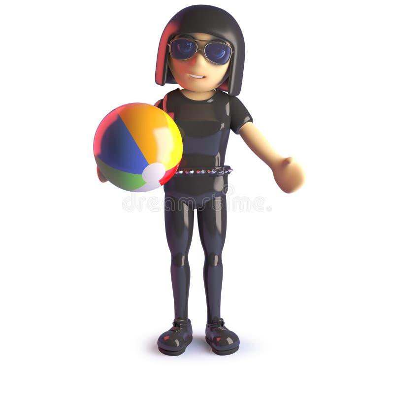 Το κορίτσι Goth είναι στις διακοπές και το παιχνίδι με μια σφαίρα παραλιών, τρισδιάστατη απεικόνιση διανυσματική απεικόνιση
