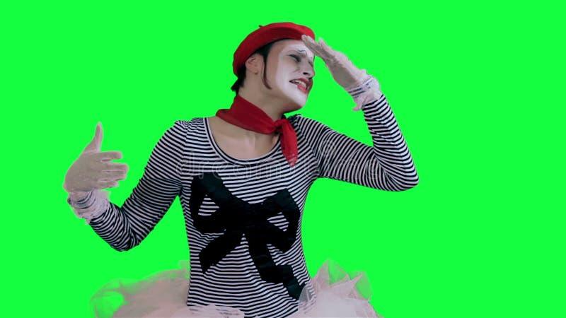 Το κορίτσι mime φωνάζει hysterically απόθεμα βίντεο
