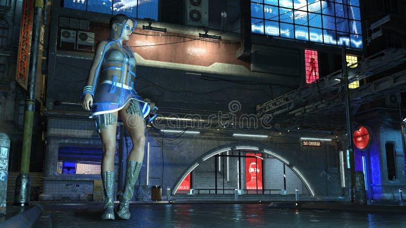 Το κορίτσι sci-Fi που φορά την εξάρτηση υψηλής τεχνολογίας στη φουτουριστική οδό πόλεων τη νύχτα, σκηνή επιστημονικής φαντασίας,  ελεύθερη απεικόνιση δικαιώματος