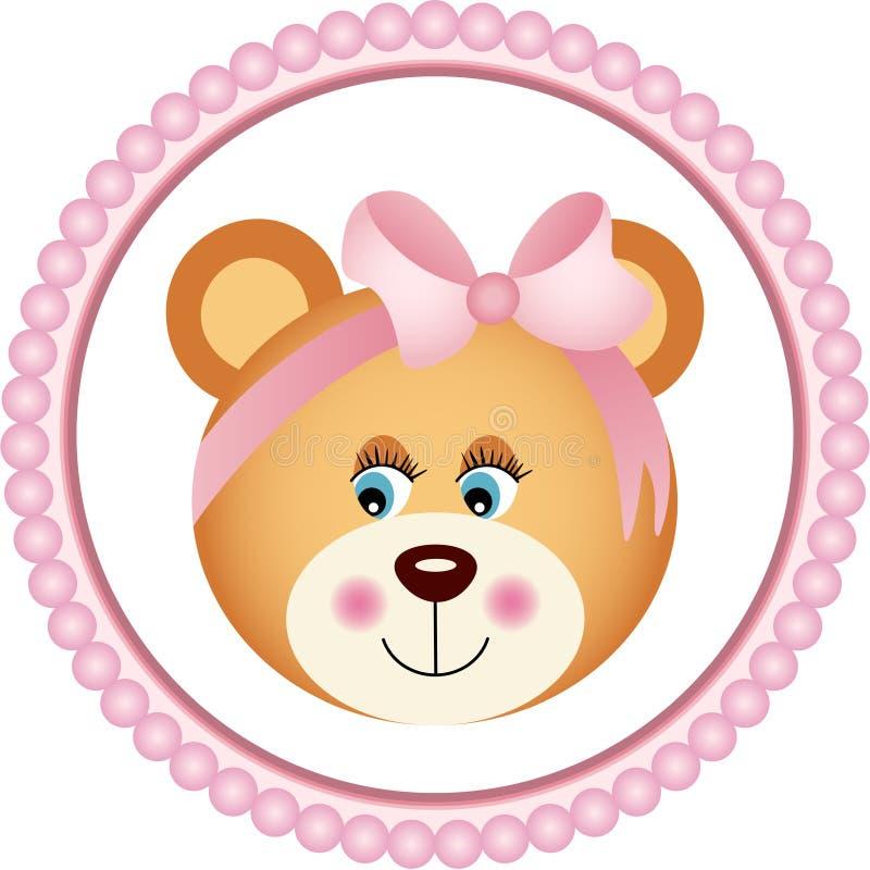 Το κορίτσι Teddy αντέχει την αυτοκόλλητη ετικέττα ελεύθερη απεικόνιση δικαιώματος
