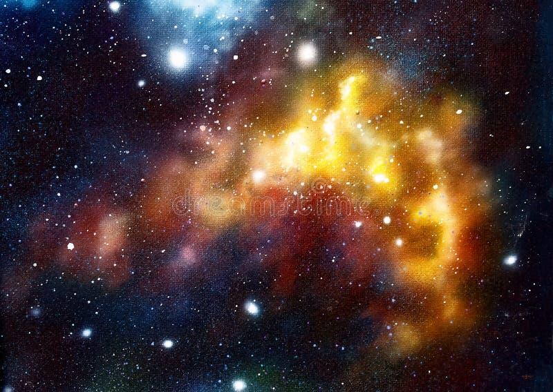 Το κοσμικό διάστημα και τα αστέρια, χρωματίζουν το κοσμικό αφηρημένο υπόβαθρο Αρχική ζωγραφική χεριών ελεύθερη απεικόνιση δικαιώματος