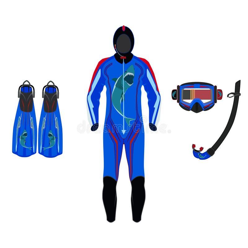 Το κοστούμι κατάδυσης, βατραχοπέδιλα, καλύπτει και κολυμπά με αναπνευτήρα διανυσματική επίπεδη απεικόνιση απεικόνιση αποθεμάτων
