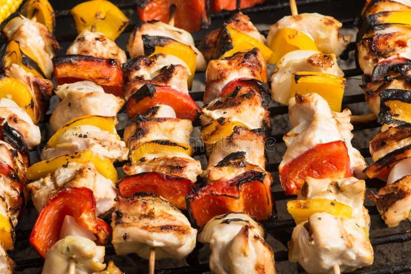 Το κοτόπουλο Barbecuing σουβλίζει kebab στοκ φωτογραφία με δικαίωμα ελεύθερης χρήσης