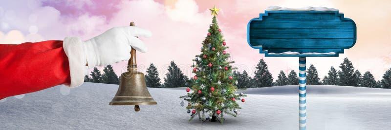 Το κουδούνι εκμετάλλευσης Santa και ξύλινος καθοδηγεί στο χειμερινό τοπίο Χριστουγέννων με το χριστουγεννιάτικο δέντρο διανυσματική απεικόνιση