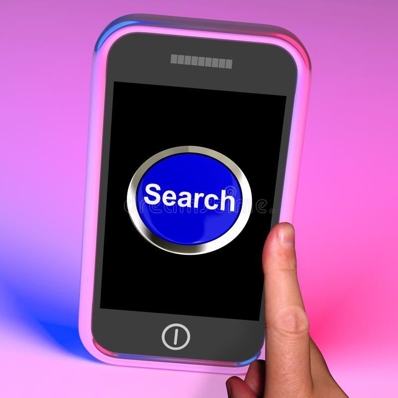 Το κουμπί αναζήτησης σε κινητό παρουσιάζει πρόσβαση Διαδικτύου ελεύθερη απεικόνιση δικαιώματος