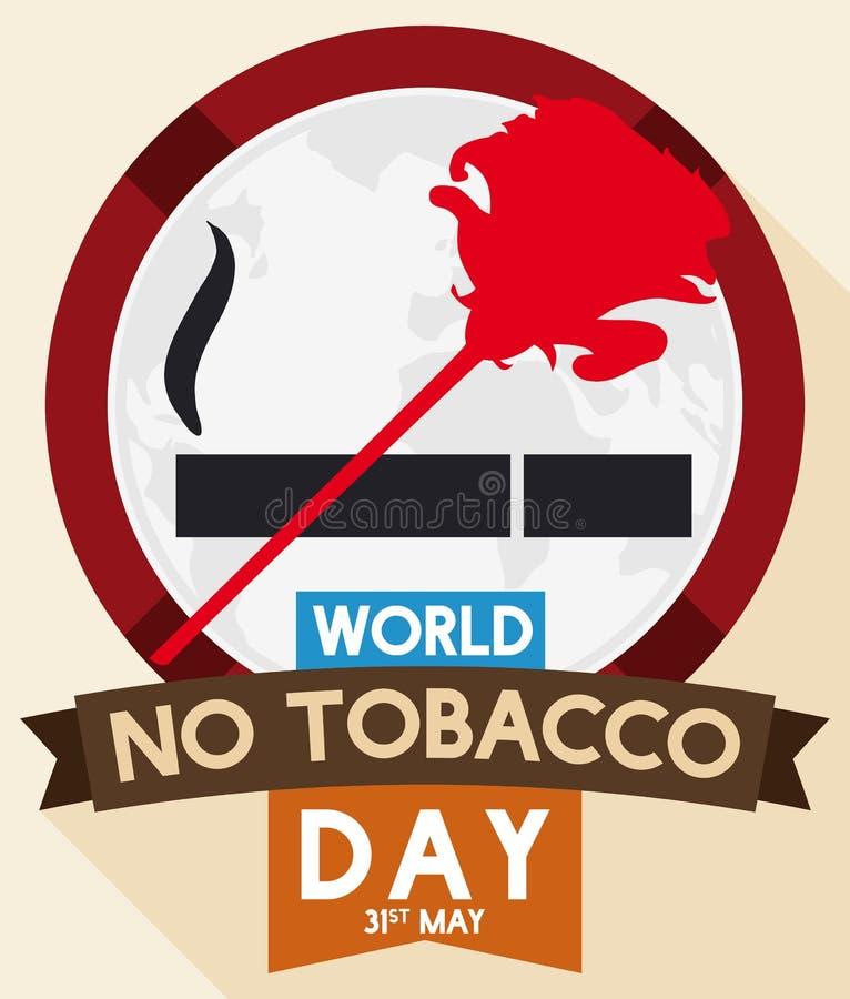 Το κουμπί όπως το σήμα απαγόρευσης με αυξήθηκε για καμία ημέρα καπνών, διανυσματική απεικόνιση διανυσματική απεικόνιση