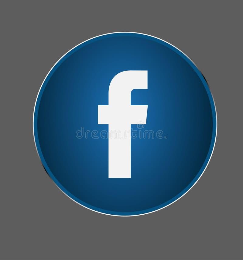 Το κουμπί Facebook, κοινωνικά μέσα, επικοινωνεί, κουβεντιάζει το λογότυπο λάμπει διάνυσμα μεταλλίων απεικόνιση αποθεμάτων