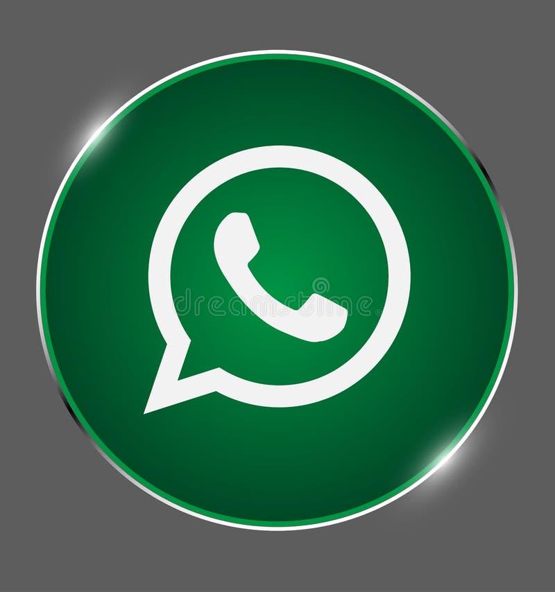 Το κουμπί Whatsapp, κοινωνικά μέσα, επικοινωνεί, κουβεντιάζει το λογότυπο λάμπει διάνυσμα μεταλλίων ελεύθερη απεικόνιση δικαιώματος