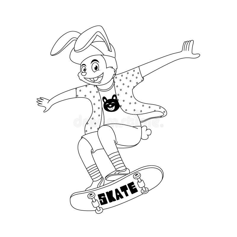 το κουνέλι κινούμενων σχεδίων παίζει skateboard με το δροσερό ύφος στο άσπρο υπόβαθρο ελεύθερη απεικόνιση δικαιώματος