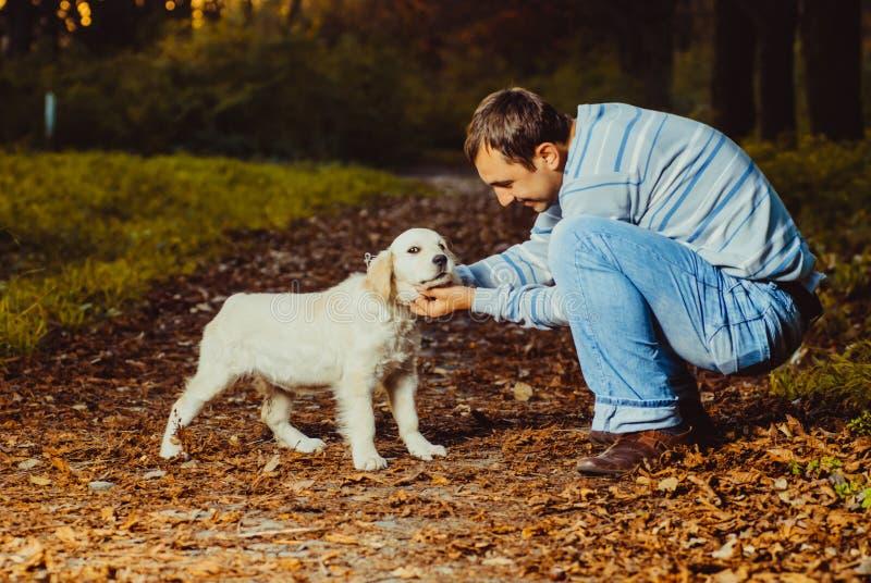 Το κουτάβι με το άτομο περπατά στο πάρκο στοκ φωτογραφία με δικαίωμα ελεύθερης χρήσης
