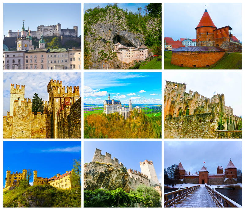 Το κολάζ από τις εικόνες των περισσότερων δημοφιλών κάστρων της Ευρώπης στοκ φωτογραφία