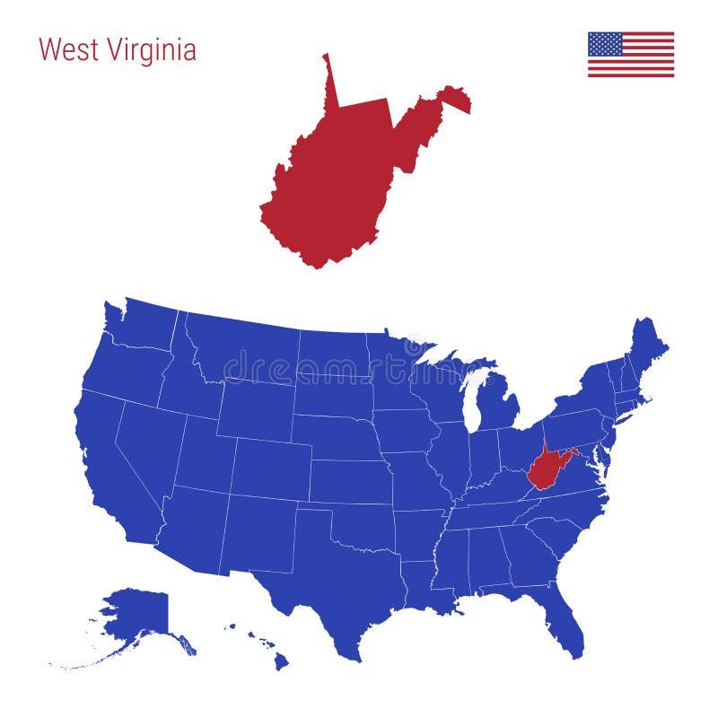 Το κράτος της δυτικής Βιρτζίνια τονίζεται στο κόκκινο Διανυσματικός χ απεικόνιση αποθεμάτων